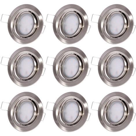 9 spots LED encastrables, aluminium, rond, D 8,4 cm, COIN SLIM