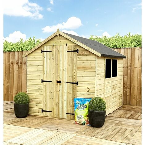 9 x 6 **Flash Reduction** Super Saver Pressure Treated Tongue & Groove Apex Shed + Double Doors + Low Eaves + 2 Windows