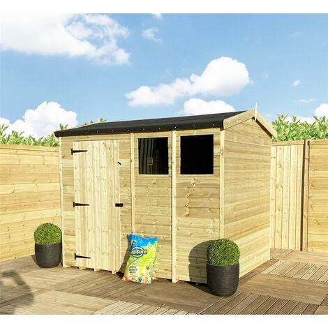 """9 x 8 **Flash Reduction** REVERSE Super Saver Pressure Treated Tongue And Groove Single Door Apex Shed (High Eaves 74"""") + 2 Windows"""