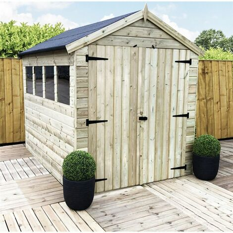 9 x 8 Premier Pressure Treated Tongue And Groove Apex Shed With Higher Eaves And Ridge Height 4 Windows + Double Doors + Safety Toughened Glass