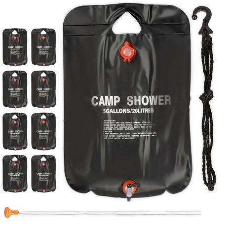 9 x Campingdusche 20 l im Set, Solardusche Camping, zum Aufhängen, faltbar, mit Handbrause, mobile Außendusche, schwarz