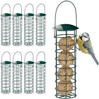 9 x Meisenknödelhalter zum Aufhängen, Futterspender für Wildvögel, Futtersäule mit Dach, Eisen, 31 cm, dunkelgrün