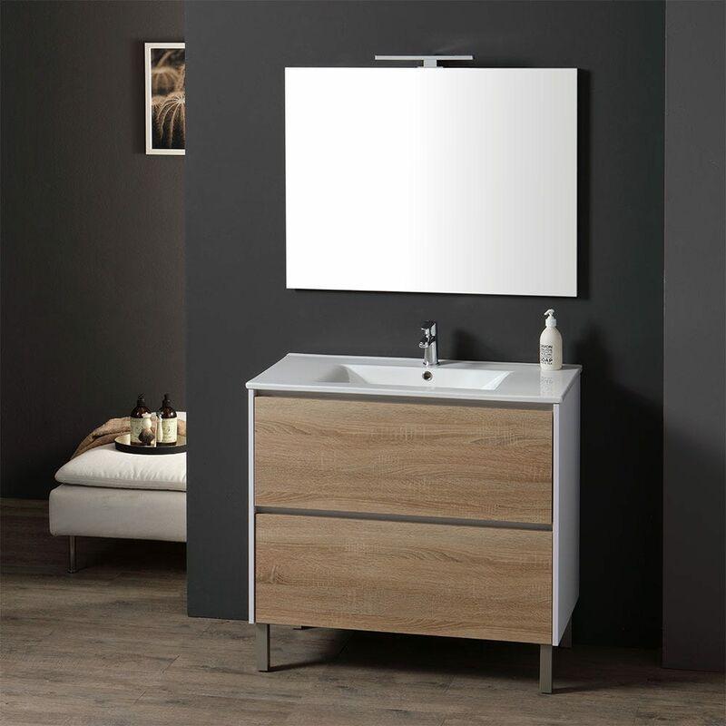 90 Cm Badmöbel Mit Weißem Sockel Waschbecken Und Rovere Laguna - KIAMAMI VALENTINA