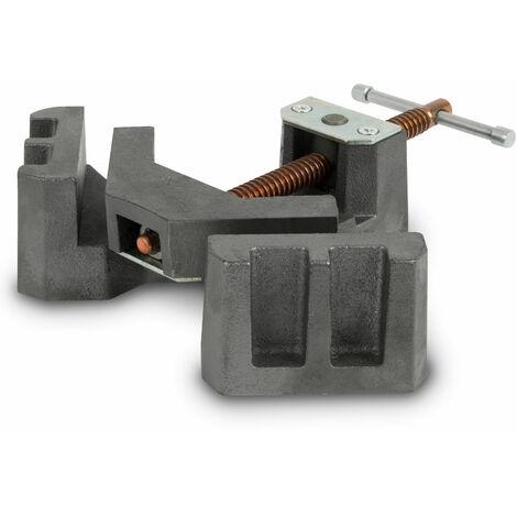 90° Tornillo de banco para soldadura de ángulos (75 mm Ancho de la mordaza, Envergadura 55 mm, Profundidad pinzas 35 mm, Eje giratorio)