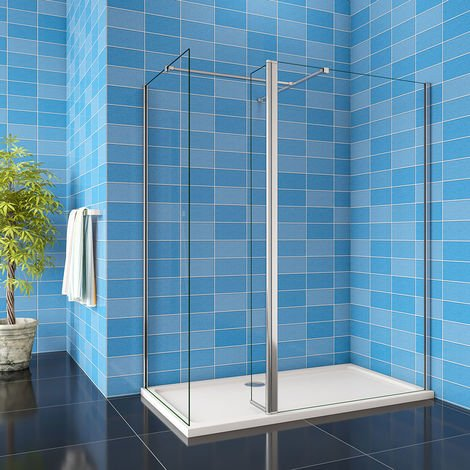 900/1000mm 1900H Walkin Shower Enclosure Wet Room EasyClean Glass with Flipper Panel & TRAY