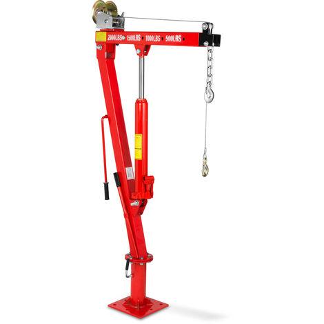 900 kg Grue de levage hydraulique avec Treuil (Chaîne et un Crochet, 1900 mm Hauteur de levage, Bague rotative à 360°, Pliante)