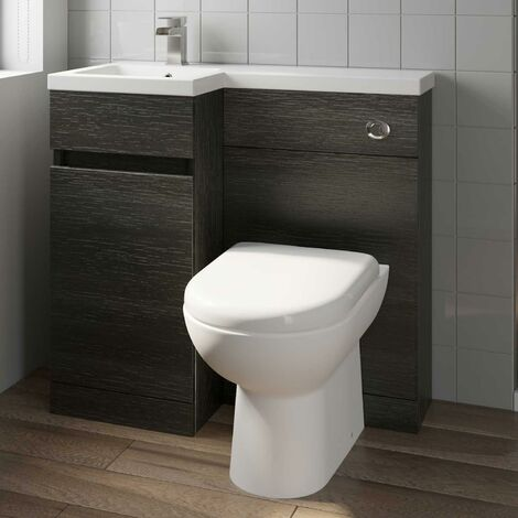 900 mm Bathroom Vanity Unit Basin Toilet Combined Furniture Left Hand Charcoal