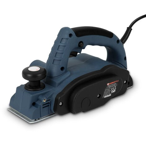 900 Watt Rabot électrique (82 mm Largeur de rabotage, Enlèvement de copeaux max. 2,6 mm, Arrêt parallèle et de profondeur, Sac à poussière)