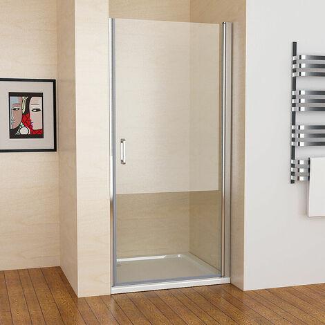 900 x 1850 mm Shower Enclosure MIQU Cubicle Pivot Hinge Shower Door 6mm Easy Clean Nano Glass Panel Wet Room - No Tray