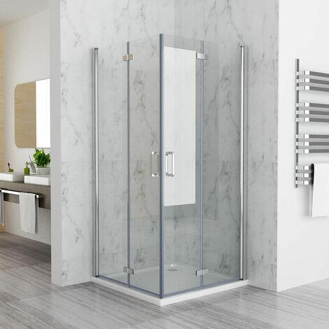 900 x 700 mm MIQU DBP Shower Enclosure Cubicle Door Corner Entry Bathroom 6mm Safety Easy Clean Nano Glass Bifold Door Frameless - No Tray