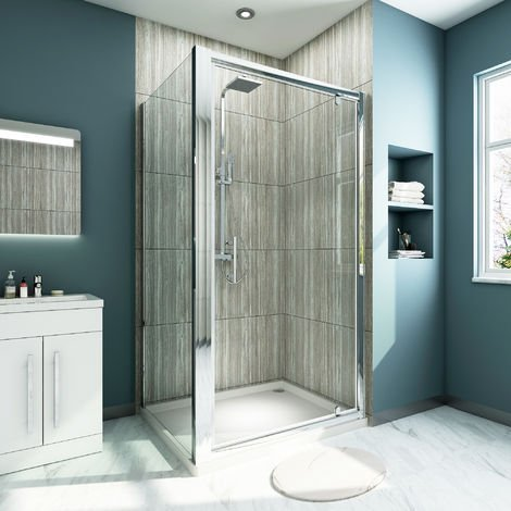 900 x 700 mm Pivot Shower Enclosure Glass Screen Door Cubicle Panel with Side Panel