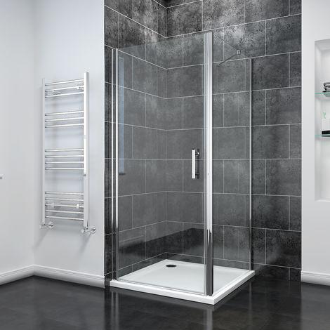 900 x 700mm Frameless Pivot Shower Door Enclosure 6mm Safety Glass Reversible Shower Cubicle Door Side + Shower Tray