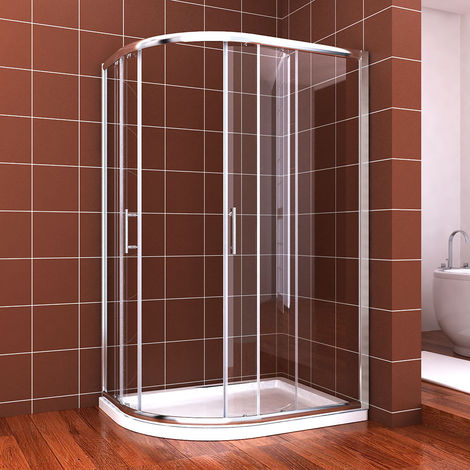 900 x 760 mm Left Quadrant Shower Enclosure Cubicle 6mm Easy Clean Glass Sliding Door + Stone Tray + Waste Trap