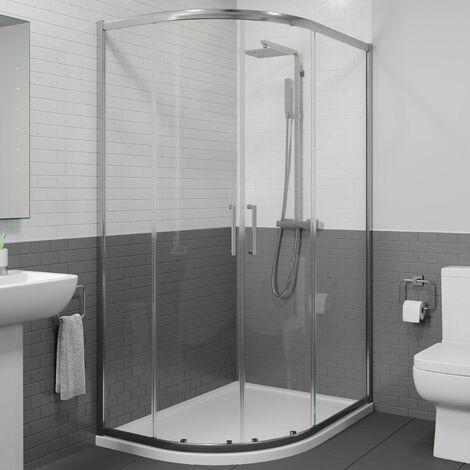 900 x 760mm LH Offset Quadrant Shower Enclosure Framed 8mm Glass Tray & Waste
