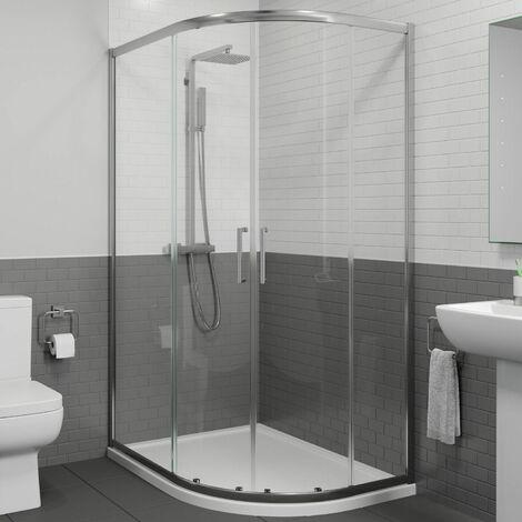 900 x 760mm RH Offset Quadrant Shower Enclosure Framed 8mm Glass Tray & Waste