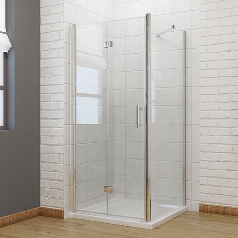 900 x 800 mm Bifold Shower Enclosure Glass Shower Door Reversible Folding Cubicle Door with Shower Tray + Side Panel