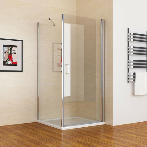 900 x 800 mm MIQUShower Enclosure Frameless 180° Pivot Door with 800 mm Side Panel 6mm Clear Safety Nano Glass 1850 Height - No Tray