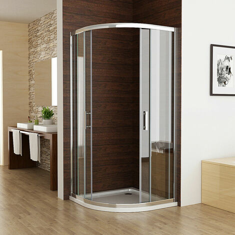 900 x 800 mm Shower Enclosure Cubicle Door Bathroom Bifold Door Corner Entry Frameless 6mm Easy Clean Nano Glass - with Shower Tray