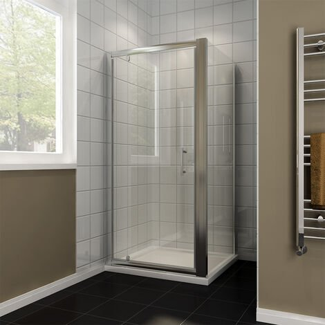 900 x 800mm Pivot Shower Enclosure Glass Screen Door Cubicle Panel with Side Panel