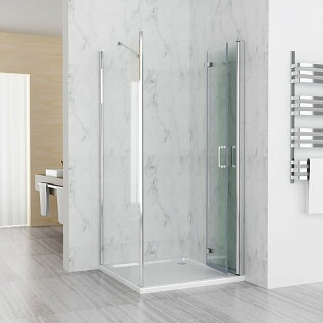 900 x 900 mm MIQU Shower Enclosure DBP Cubicle Door with 900 mm Side Panel 6mm Easy Clean NANO Glass Bifold Door - No Tray