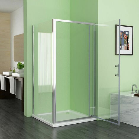 900 x 900 mm Pivot Shower Enclosure Door 6mm Easy Clean Glass Shower Cubicle with 700 mm Side Panel - with Shower Tray