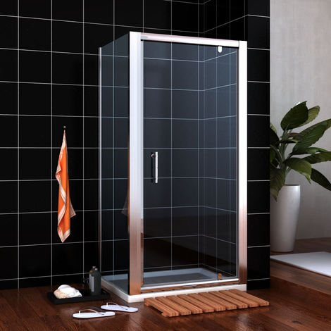 900 x 900 mm Pivot Shower Enclosure Glass Screen Door Cubicle with Side Panel + 900x900mm Stone shower tray