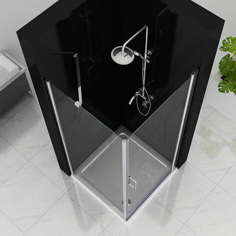 900 x 900 mm Shower Enclosure Cubicle Door Pivot Hinge Shower Door 6mm Easy Clean Nano Glass with 900 mm Side Panel- No Tray