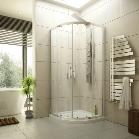 900 X 900 Quadrant Shower Enclosure 6mm Glass And Stone Resin Tray