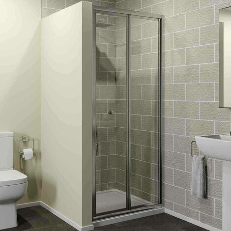 900 x 900mm Bi Fold Shower Door Enclosure Glass Screen 4mm Framed Acrylic Tray