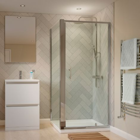 900 X 900mm Framed Pivot Shower Enclosure With Tray And Waste