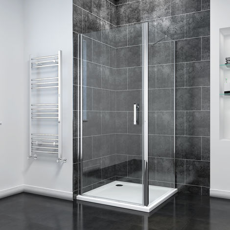900 x 900mm Frameless Pivot Shower Door Enclosure 6mm Safety Glass Reversible Shower Cubicle Door Side + Shower Tray
