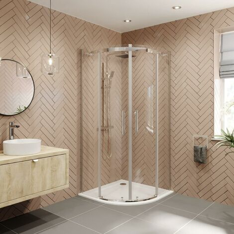 900 x 900mm Quadrant Shower Enclosure Frameless Walk In 8mm Glass Tray & Waste