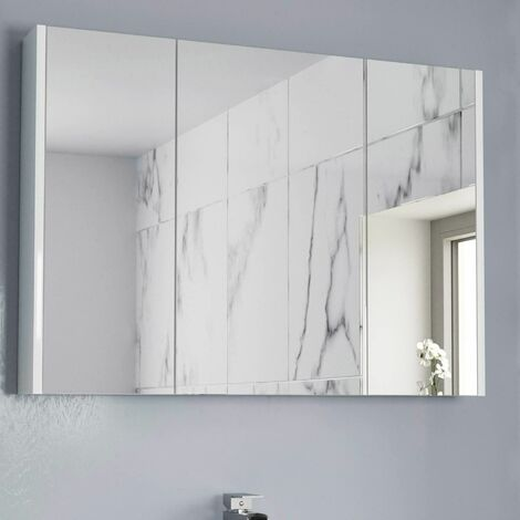 900mm Bathroom Mirror Cabinet Three Door Cupboard Wall Hung White