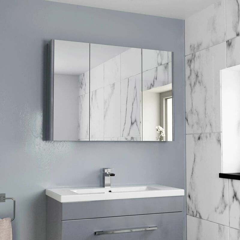 900mm Bathroom Mirror Cabinet Three Door Cupboard Wall Mounted Grey
