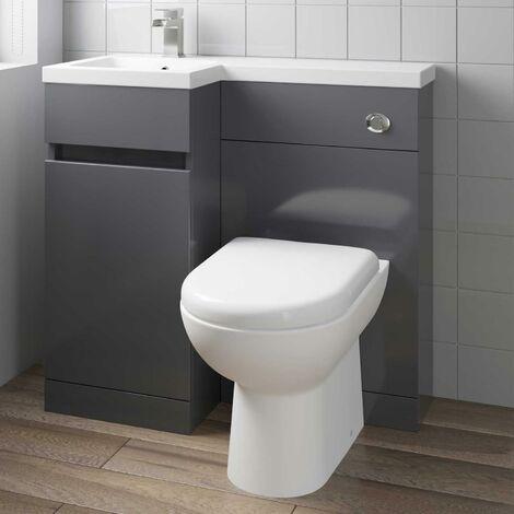 900mm Bathroom Vanity Unit Basin Sink Toilet Combined Furniture Left Hand Grey