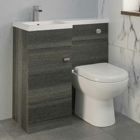900mm Bathroom Vanity Unit Basin & Toilet Combined Unit LH Grey