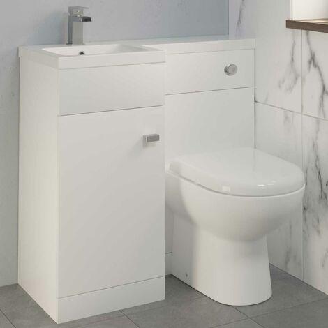 900mm Bathroom Vanity Unit Basin & Toilet Combined Unit LH White