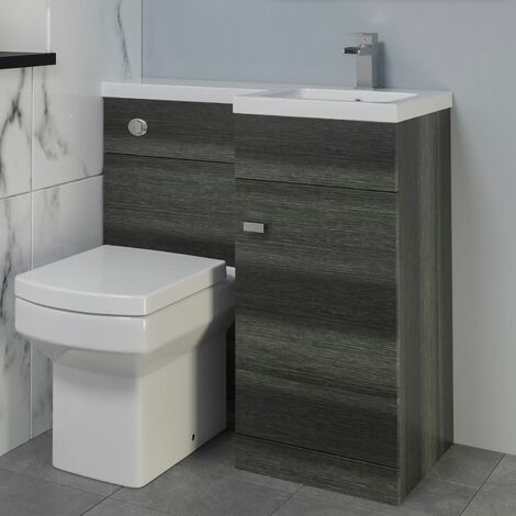 900mm Bathroom Vanity Unit Basin & Toilet Combined Unit RH Grey