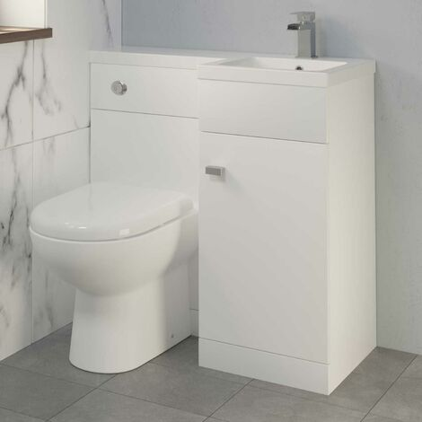 900mm Bathroom Vanity Unit Basin & Toilet Combined Unit RH White