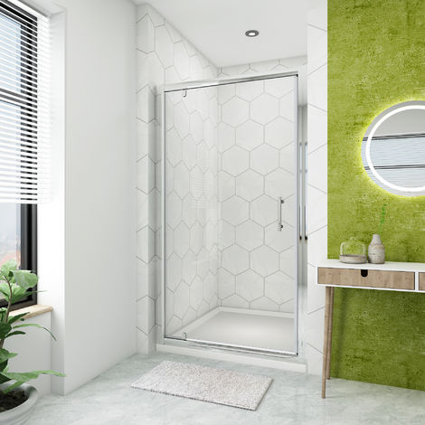 900mm Pivot Door Hinge Shower Enclosure Glass Screen + 1000 x 900 mm Stone Tray Waste