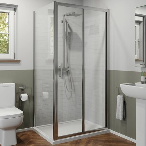 900mm x 700mm Bathroom Bi Fold Shower Door Enclosure Side Panel Framed 6mm Glass