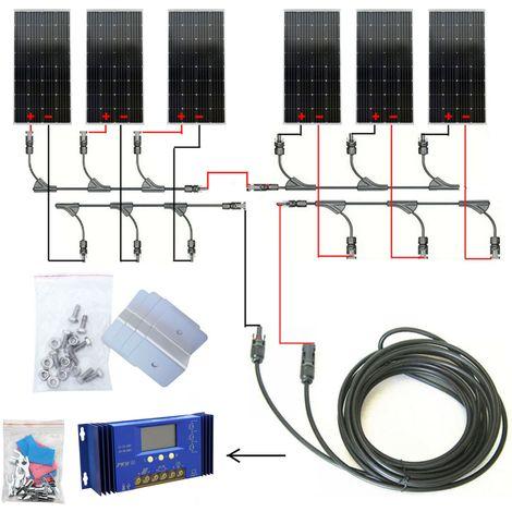 900W hors réseau Kit complet 6 * 150W PV Mono Panneau solaire 24V Charge de batterie de bateau