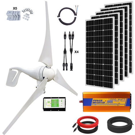 900W Kit 400W Wind Hybrid Turbine Generator & 100W 12V Solar Panel 1KW Inverter