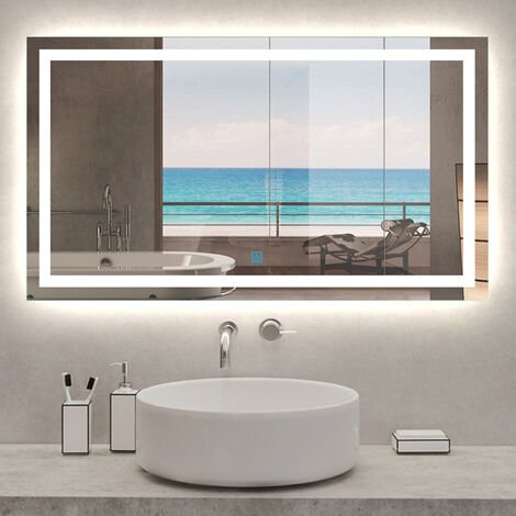 """main image of """"Large Illuminated Led Bathroom Mirror with Demister Pad [IP44 Rated] Rectangular Backlit Wall Mounted,Touch Sensor Switch"""""""