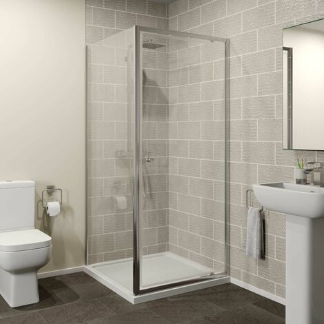 900x700mm Pivot Shower Door Side Panel Enclosure 4mm Glass