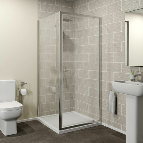 900x900mm Pivot Shower Door Enclosure 4mm Screen Side Panel Framed Acrylic Tray
