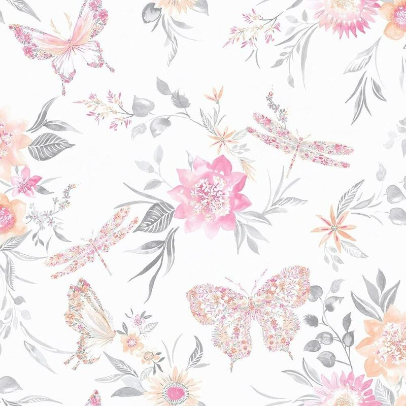 Image of 90100 - Glasshouse Paper Floral Butterflies Coral Wallpaper - Holden Decor