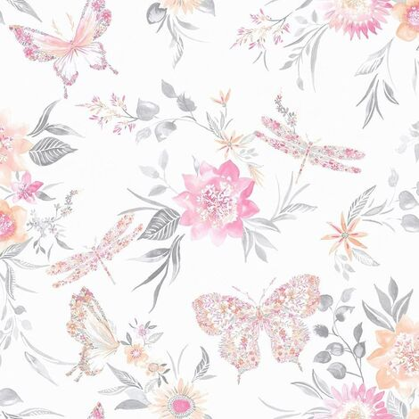 90100 - Glasshouse Paper Floral Butterflies Coral Holden Decor Wallpaper
