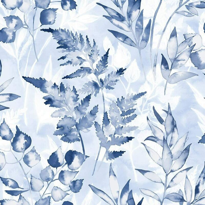 Image of 90133 - Glasshouse Paper Floral Trees Foliage Navy Wallpaper - Holden Decor