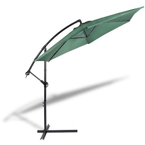 909 OUTDOOR Ampelschirm für Terrasse und Garten Ø 300 cm , Verstellbarer Sonnenschirm mit Ständer und Kurbelvorrichtung , Gartenschirm aus Polyester & Stahl